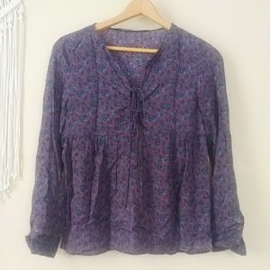 Like new zara tie front babydoll blouse